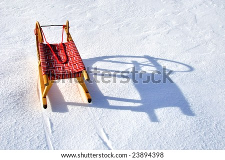 Red Winter Sled - stock photo