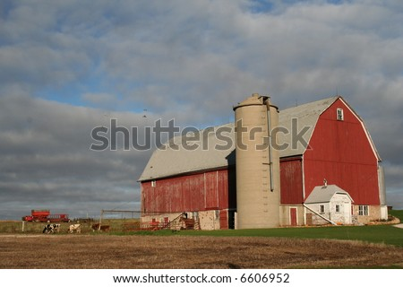 red Wisconsin dairy barn - stock photo