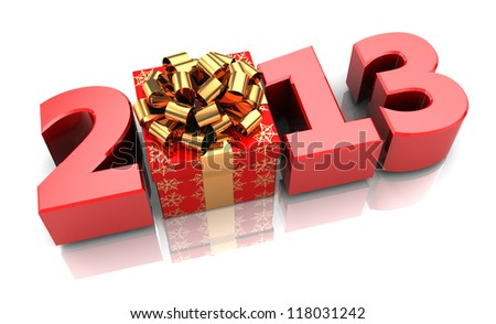 Red 2013 with present box, new year concept - stock photo