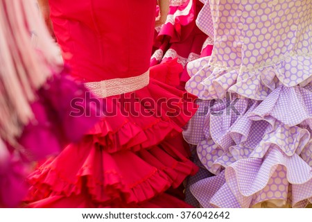red woman flamenco clothes texture - stock photo