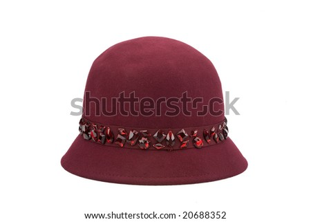 red woman's hat with stones - stock photo