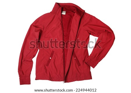 Red woman's sports jacket isolated on white background  - stock photo