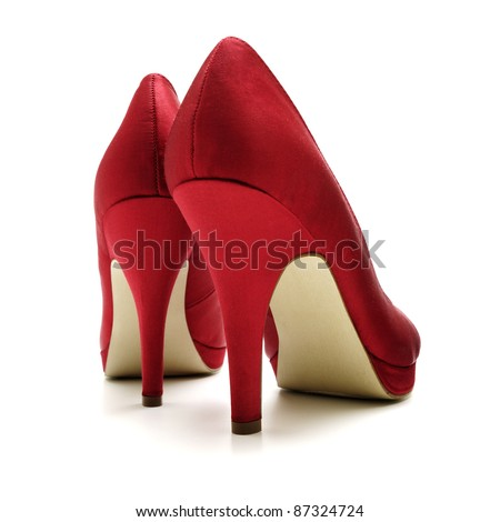 Red woman shoes - stock photo