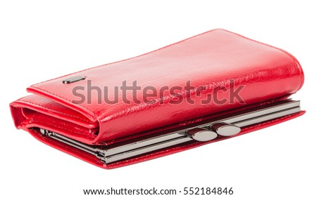 red women's wallet, isolated on white