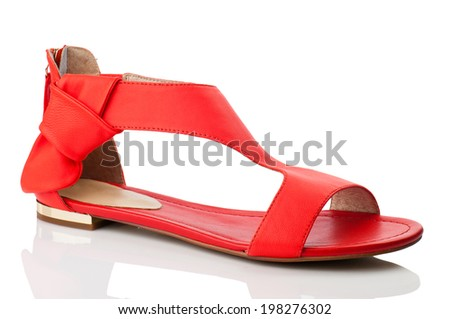 Red women shoe isolated on white background.