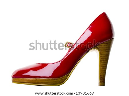 Red Womens Shoe - Isolated on White with Clipping Path - stock photo
