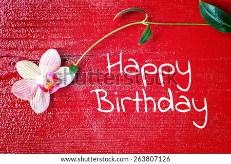 red wood background - happy birthday - stock photo