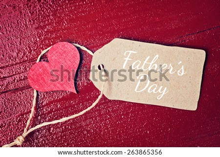 red wood background with hearts - fathers day - stock photo