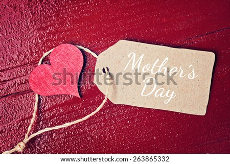 red wood background with hearts - mothers day - stock photo