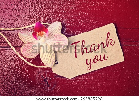 red wood background with hearts - thank you - stock photo