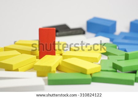Red Wooden Blocks isolated on white background - stock photo