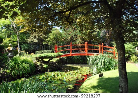 red wooden bridge in the japanese gardens in kildare ireland - Japanese Garden Bridge Drawing
