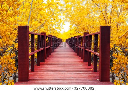 Red wooden bridge into the autumn forest. - stock photo