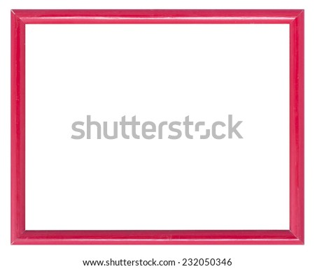 Red wooden frame for  picture or painting on white background. - stock photo