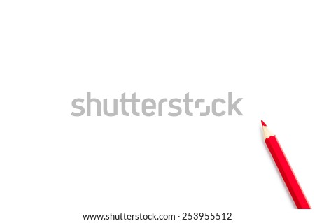 Red wooden pencil, isolated on white with clipping path.Red pencil.Text area.Creative idea.Background for business themes.Pencil isolated on pure white background . - stock photo