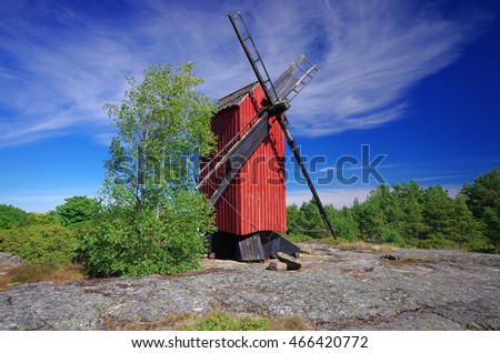 Red wooden windmill in Aland islands