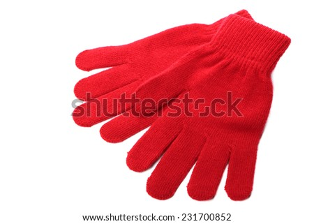 Red wool gloves isolated on white background  - stock photo