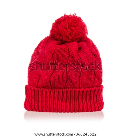red wool knitted hat isolated on white background. - stock photo