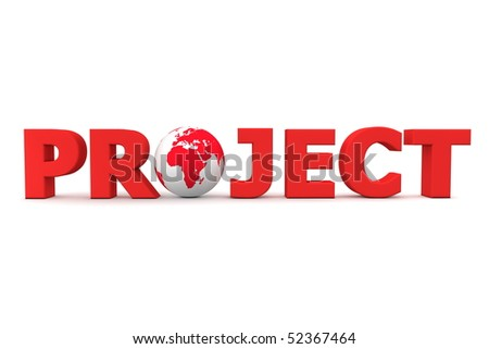 red word Project with 3D globe replacing letter O - stock photo