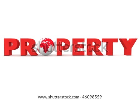 red word Property with 3D globe replacing letter O - stock photo