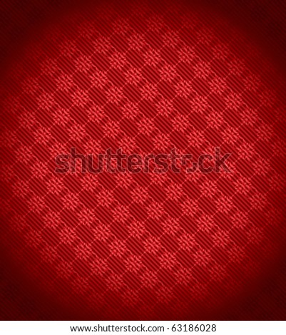 Red Xmas snowflake background. Stripes and vignetting added. Large resolution - stock photo