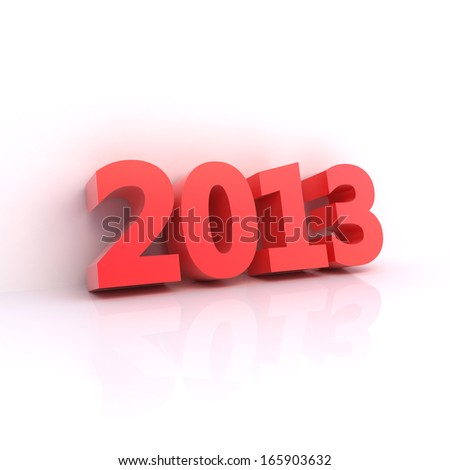 Red 2013 year - 3D computer generated ilustration - clipping path