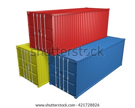 Red, yellow, and blue shipping import and export containers, 3D rendering
