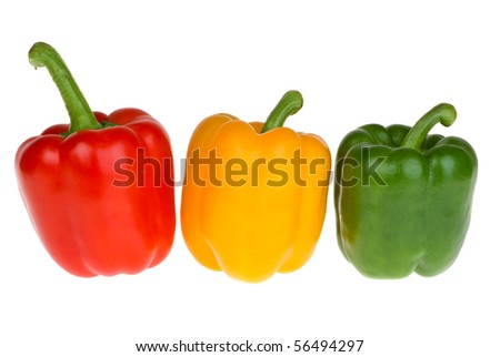 Red, yellow and green bell peppers  isolated on the white background - stock photo