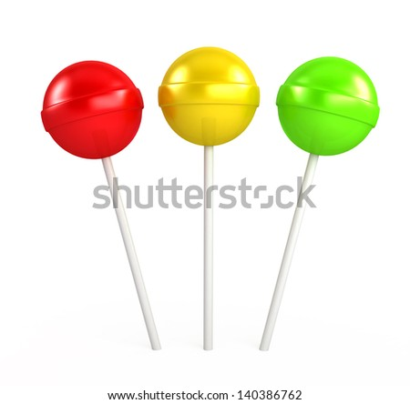 Red, yellow and green lollipop isolated on white background. - stock photo