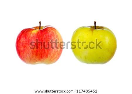red & yellow apple - stock photo