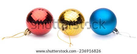 red, yellow, blue christmas balls on white background - stock photo