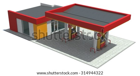 Red/yellow gas station isolated on white background. 3D render. - stock photo