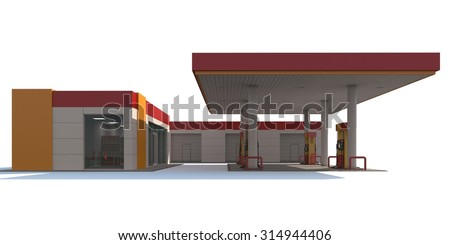 Red/yellow gas station isolated on white background. 3D render.