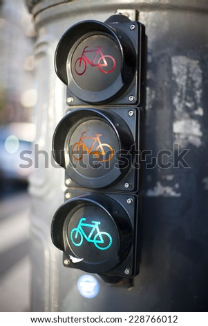 Red yellow green traffic lights  for cyclists  - stock photo