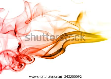 Red yellow movement of smoke on white background - stock photo