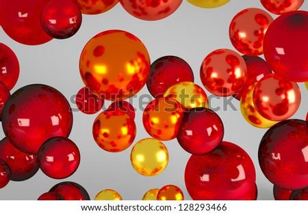 red yellow orange  balls studio fly - stock photo