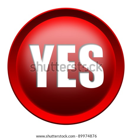 Red YES button isolated over white background