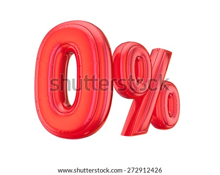 Red zero percent, isolated on white background. - stock photo