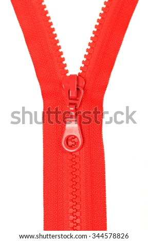 Red zipper. Isolated on white background - stock photo