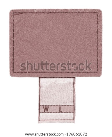 reddish leather jeans label on white background