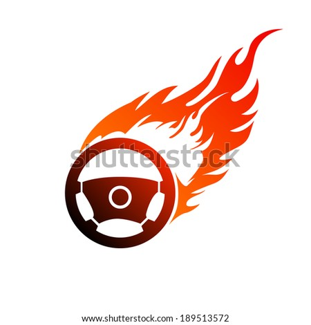 Reddish orange symbol burning automobile steering - stock photo
