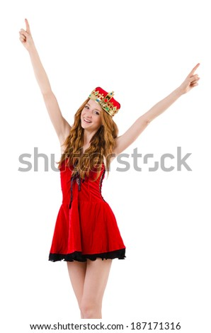 Redhead girl with crown pressing virtual buttons  isolated on white - stock photo