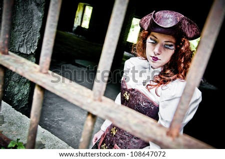 Redhead gothic victorian girl - stock photo