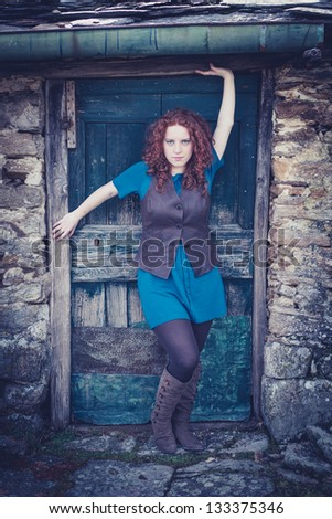 Redhead rural model - stock photo