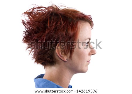 redhead with a short and funky hairstyle - stock photo