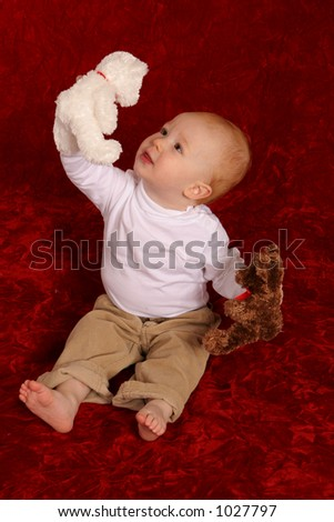 Redhead with stuffed bears - stock photo