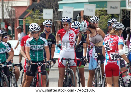 REDLANDS, CA - APRIL 02: Cyclists prepare for Redlands Bicycle Classic criterium stage race April 02, 2011 in Redlands, CA. This is the 27th year of this professional-level cycling event.