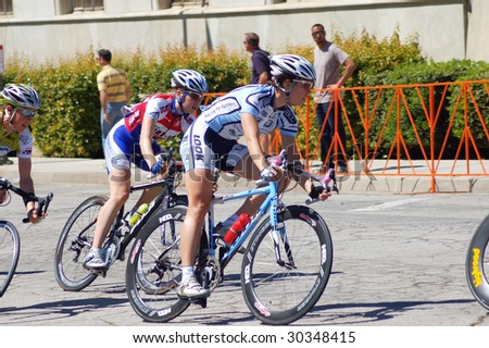 REDLANDS, CA - 28 MARCH: Competitors in the criterium road race of the Redlands Bicycle Classic, 28 March 2009 in Redlands. The first race was held in 1985.