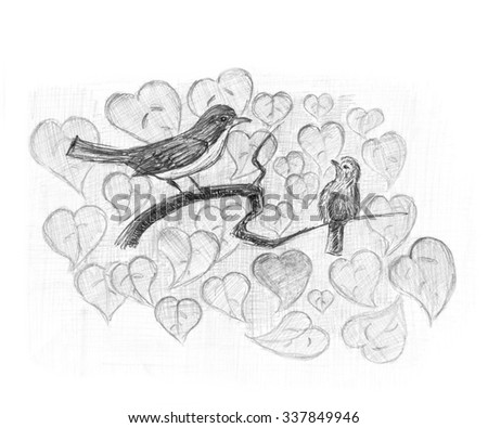 Redstart with nestling. Birds on a branch. Pencil sketch. - stock photo