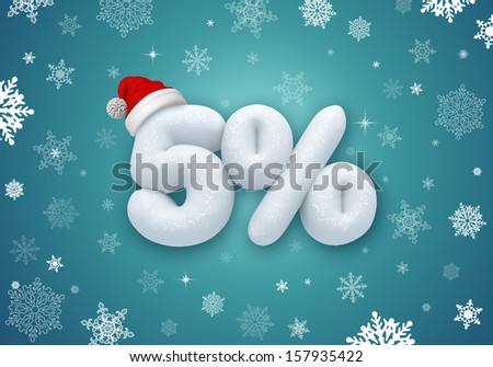 reduced price, sale discount label, 3d snow number - stock photo